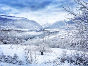 The valley of the Guil in winter